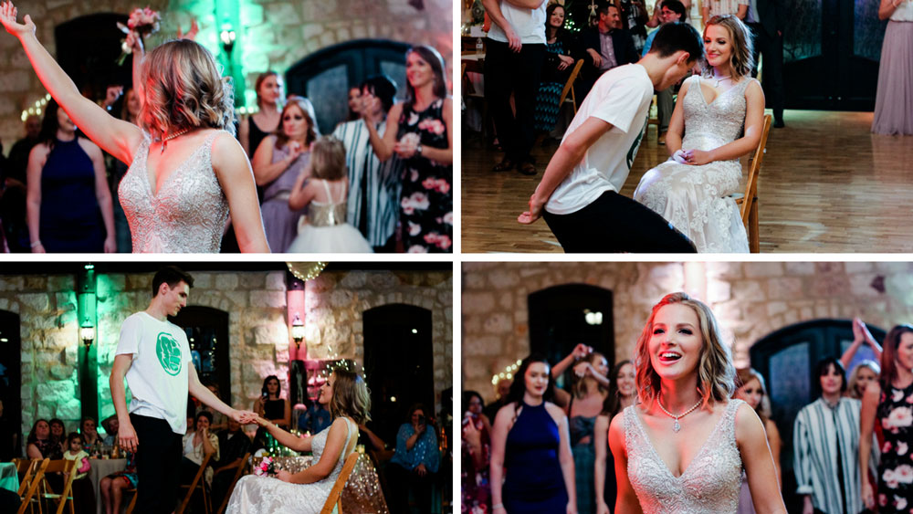 groom takes off formal wear and does a special dance for his bride!