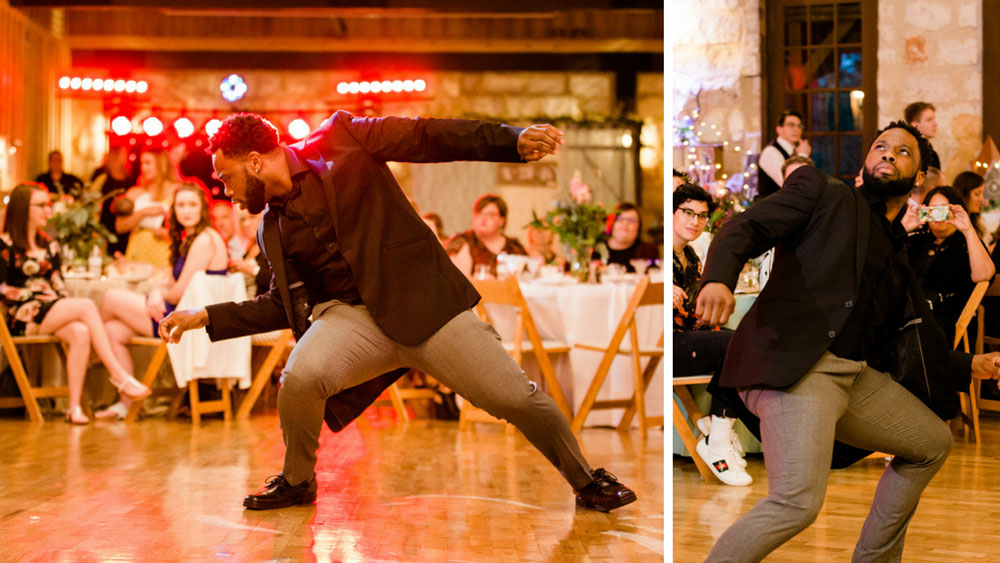 groomsmen dance and show off moves on the dance floor.