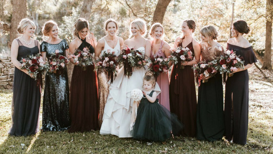 Mix And Match Bridesmaids In Fall Colors Such As Merlot Cabernet Burgundy