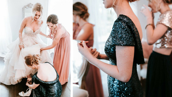 sequin bridesmaids help bride get dressed before the ceremony.