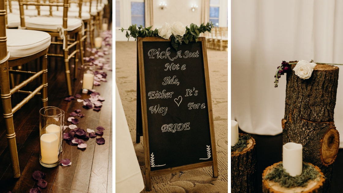 pick a seat not a side either way it's for a bride chalkboard sign walking down aisle candles tree stumps purple rose petals