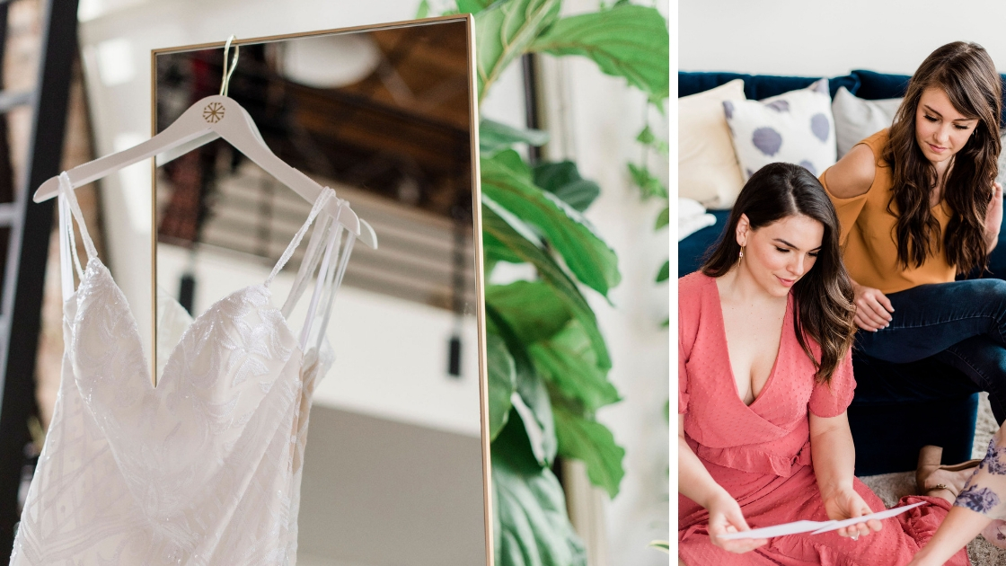 Pick Your Perfect Date Try On Party Blog Close up of raden bridal gown against the mirror bride and her bridesmaid looking at papers planning try-on party