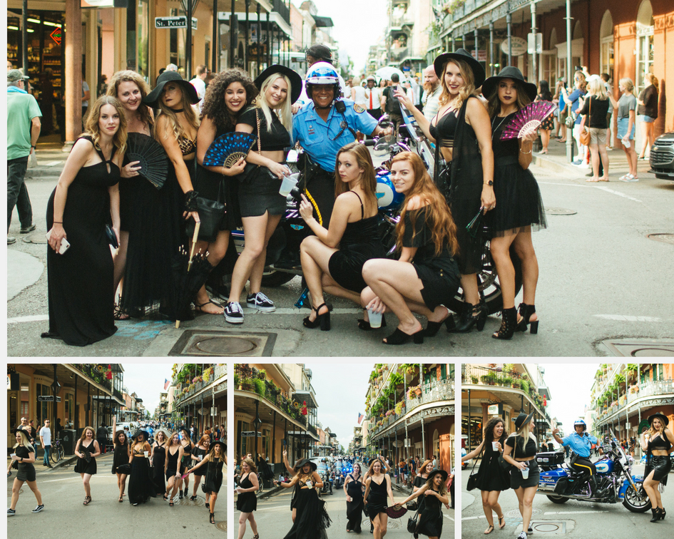 A cop joins the Coven. Bridesmaids pose with New Orleans police officer in the middle of bourbon street at this coven bachelorette party.