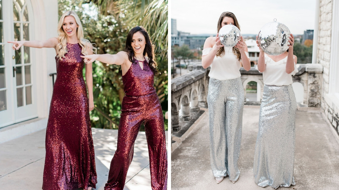 pretty girls in revelry separates red and burgundy outfits and separates disco balls silver sequins