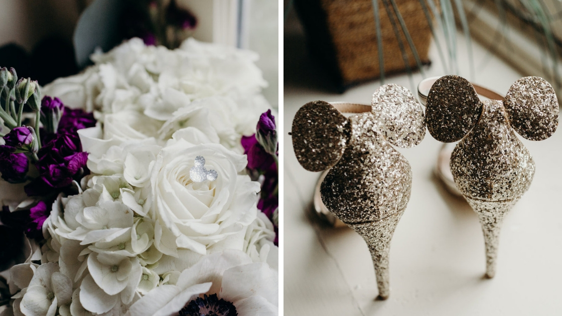 Purple and white bouquet disney wedding gold glitter mickey disney heels shoes