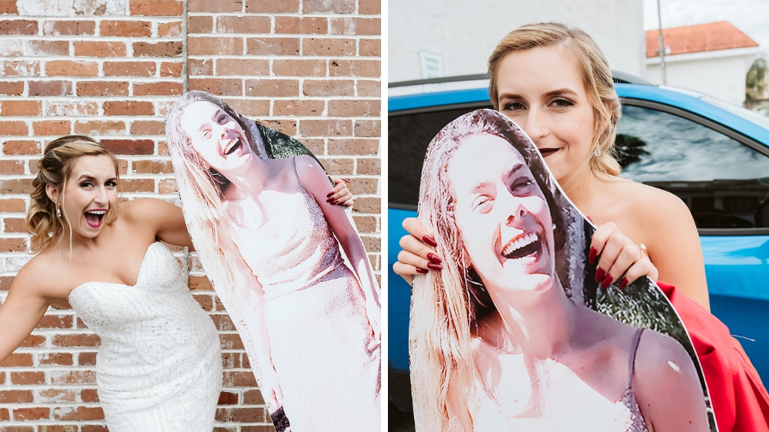 Rachel and her maid of honor cardboard cutout alexa in gold dress