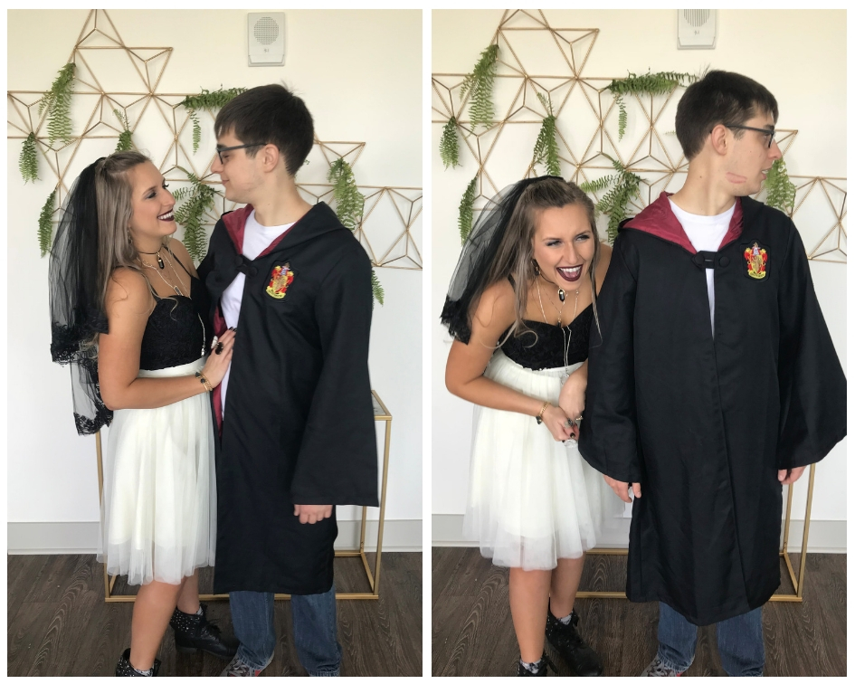Rachel Varina and her fiance Jon pose at shower in harry potter outfits laughing