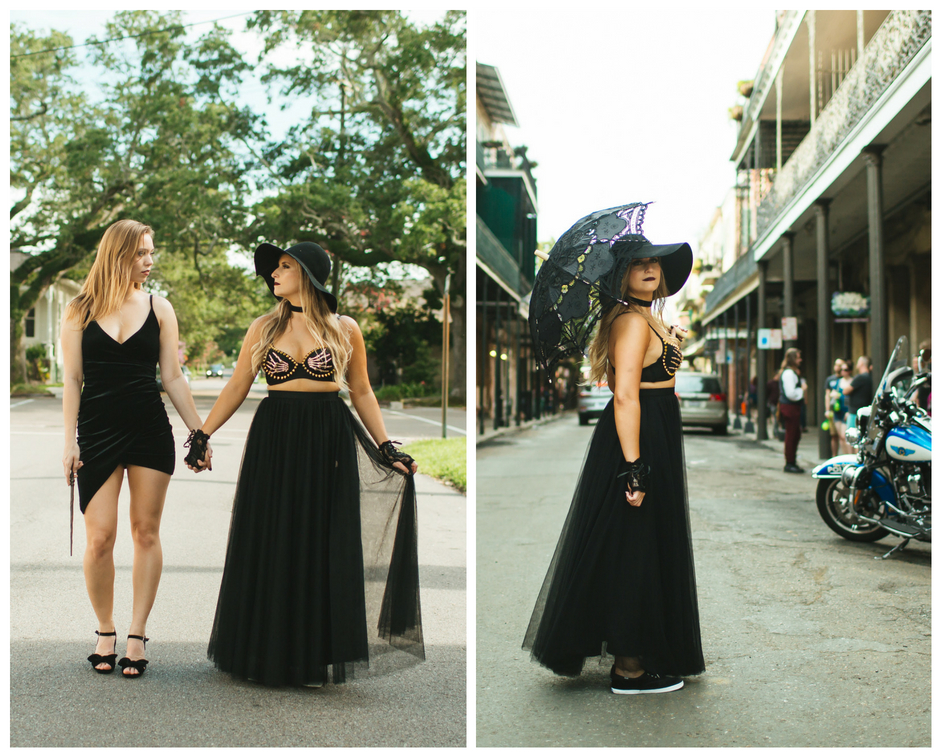 Bride and bridesmaid pose wearing all black as witches in new orleans french quarter with a skylar tulle skirt