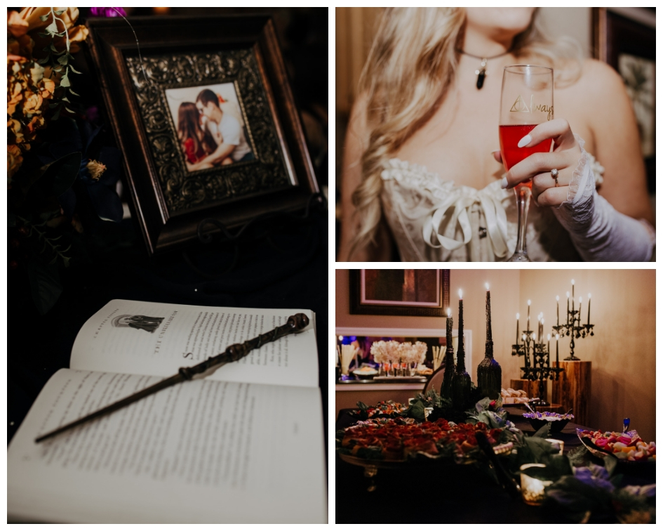 Detail shots of coven harry potter bridal shower with books candles