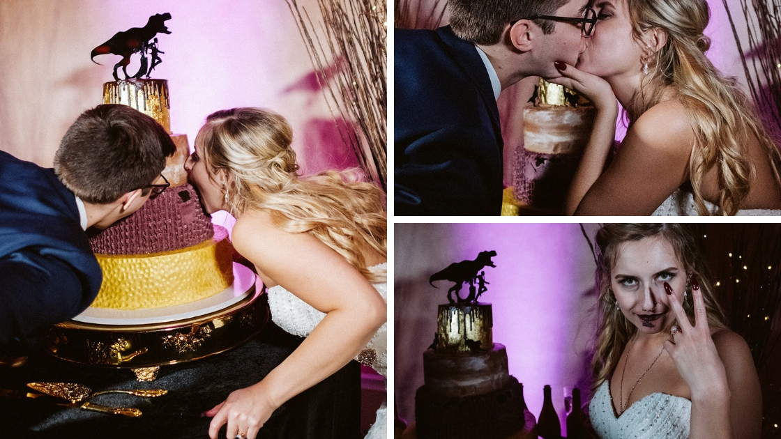 Rachel Varina and Jon bite into wedding cake at Halloween formal wedding in October in Tampa
