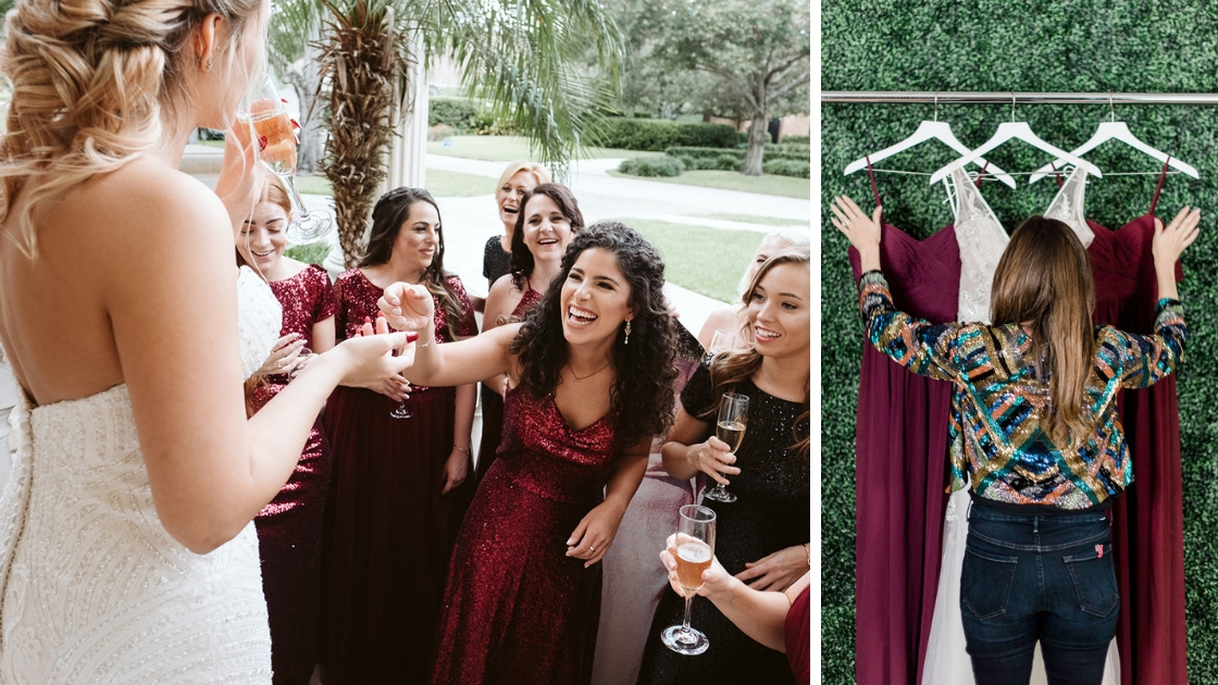 Rachel Varina wedding halloween fall wedding cabernet sequin revelry bridesmaid dresses smiling and laughing and having drinks at wedding chiffon dresses hanging up