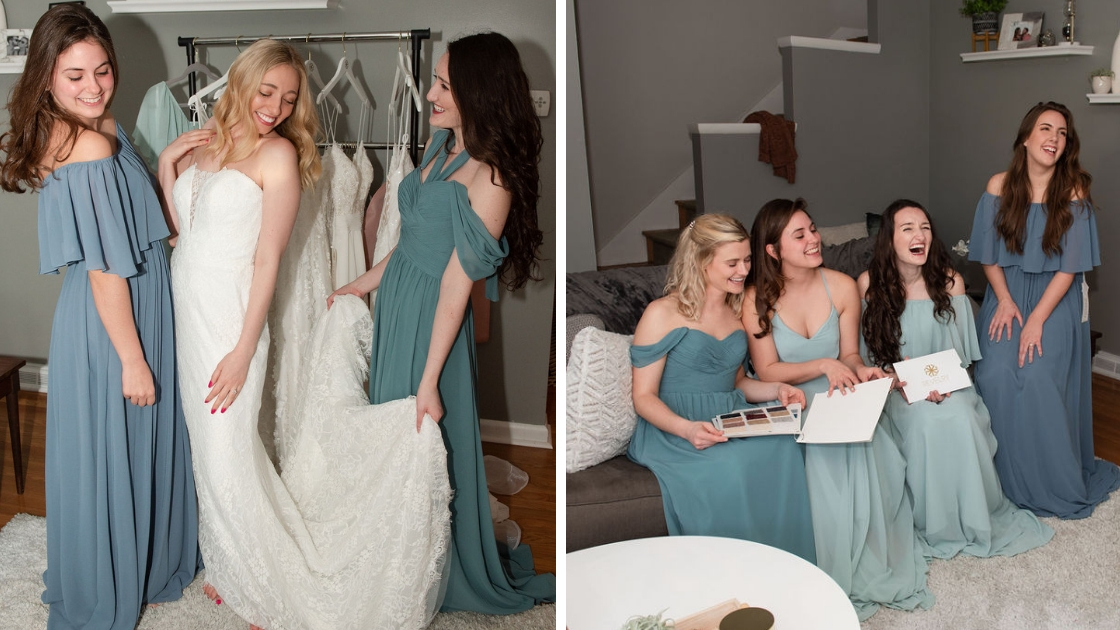 Real Bridesmaid Try-On Party blues and greens chiffon dresses off the shoulder revelry bridesmaid dresses swatches wedding dress v-neck