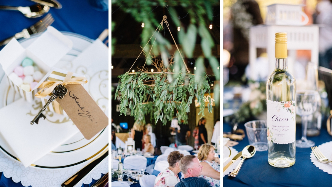 Reception details at rustic blush wedding with diy aspects and greenery