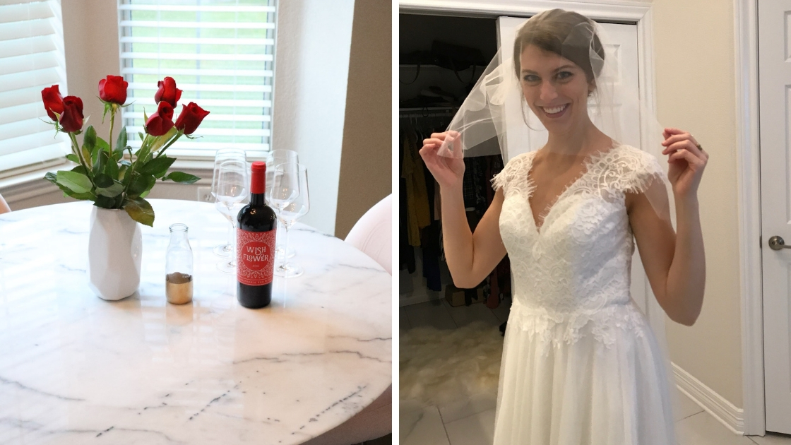Red roses and red wine for Revelry bachelor finale primere wine wedding dresses bride putting on veil