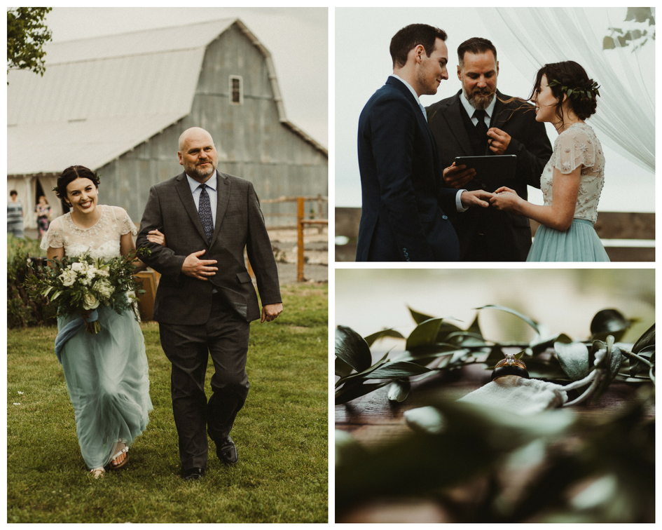 Bride and groom get married at rustic and trendy Idaho wedding