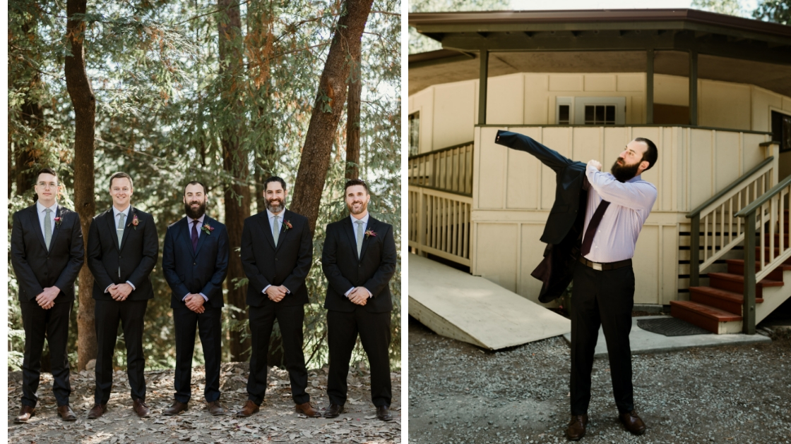 redwood wedding revelry blog groomsmen wearing suits getting ready for wedding with greenery