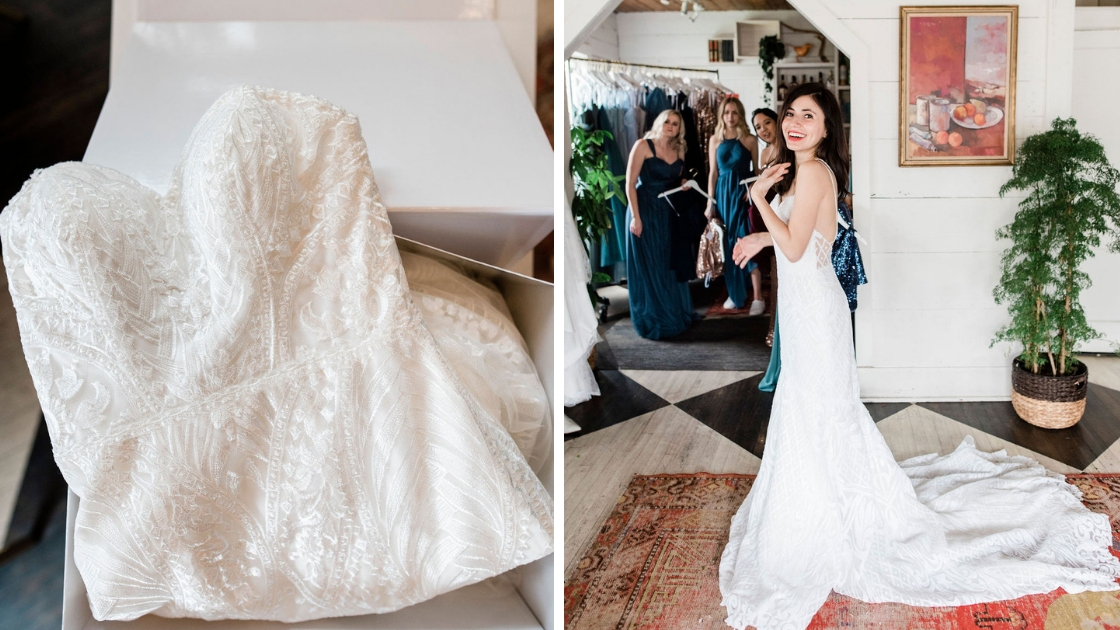 Revelry bridal gown decklyn dress leopard martini in raden bridal gown sequins glitter friends watchinf and smiling as bride trys on dresses