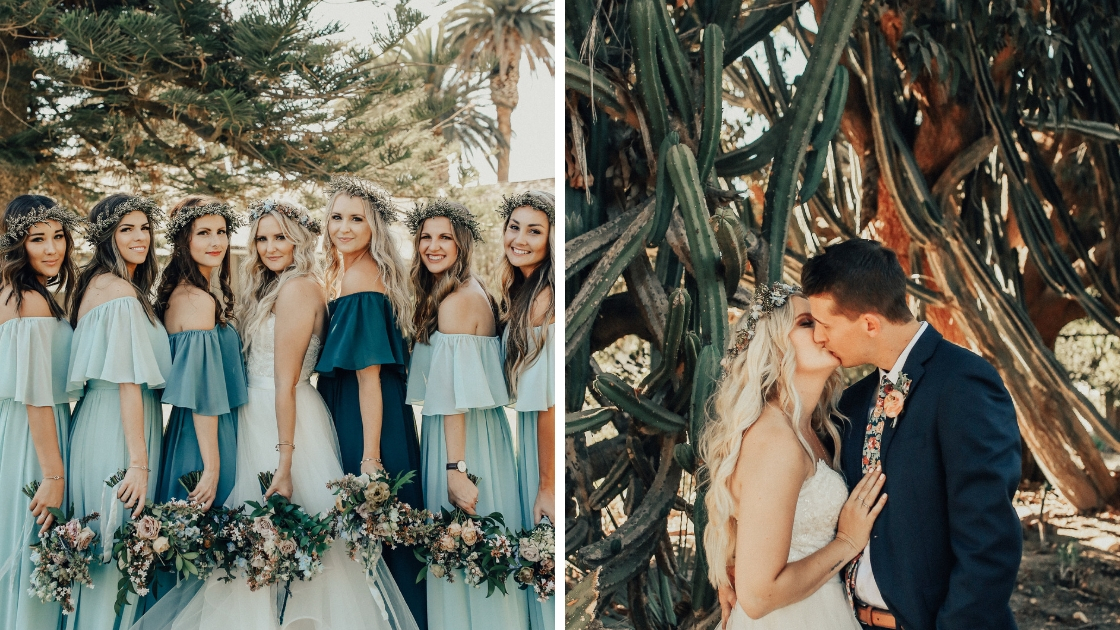 Bridesmaids in revelry chiffon dresses pose with bouquets at desert wedding