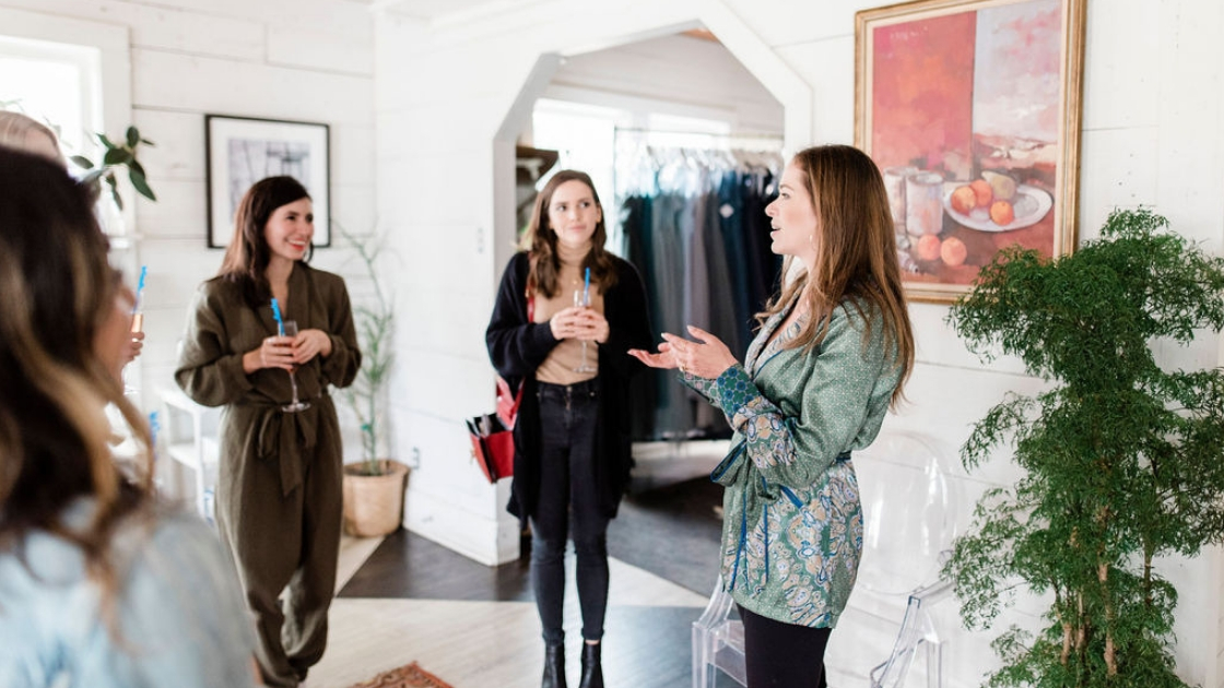Revelry bridesmaid and bridal gown company founder Michelle hosts Try-On Party for Austin Blogger Leopard Martini for her May wedding