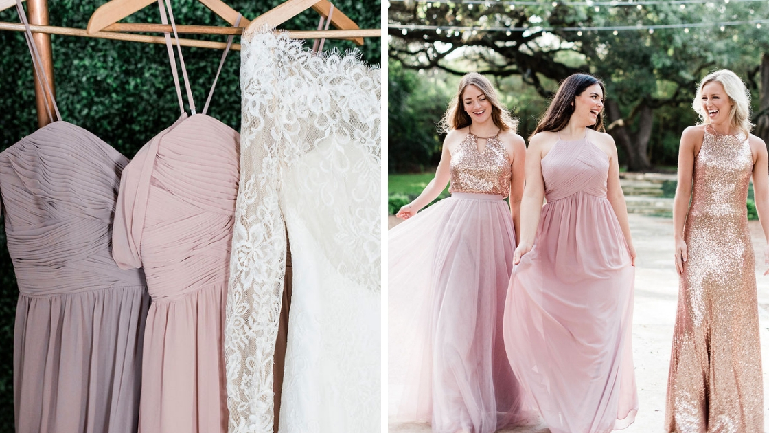 Revelry bridesmaid andbridal gowns high neck styles off the shoulder styles pinks and purples and rose gold gowns two different photos