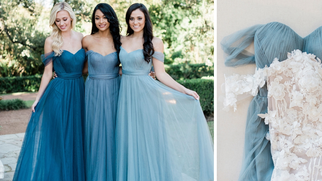 Revelry bridesmaid dresses blue tulle dresses aphrodite wedding dress gown dusty blue spring trend