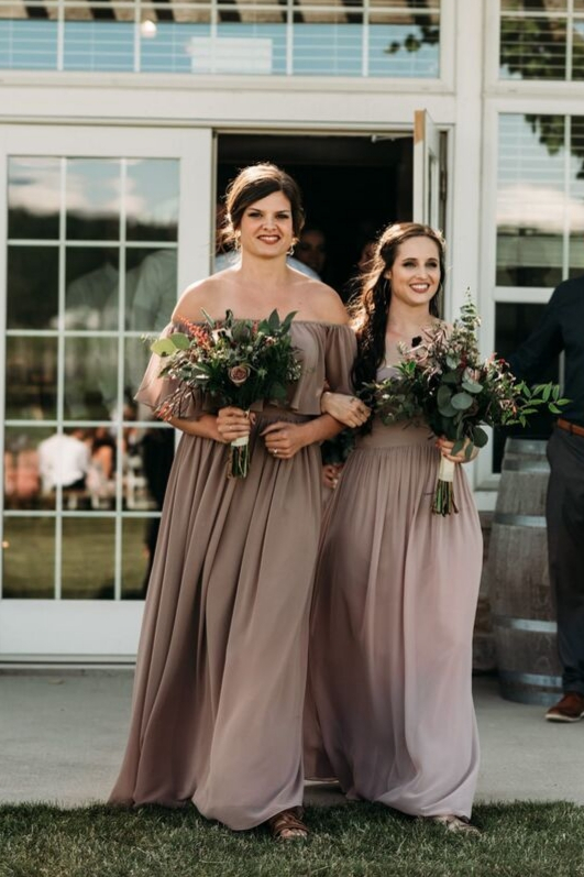 REvelry bridesmaids dresses walking down aisle on wedding day melted mauve peacan taupe dresses chiffon gowns off the shoulder dress