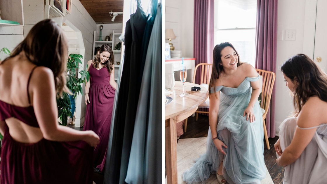Revelry bridesmaids put on tulle and chiffon dresses at Try-On Party looking in mirror wearing cabernet gown blue tulle gown