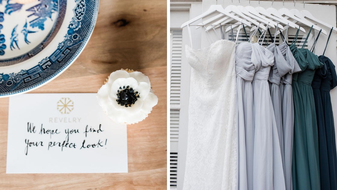 Revelry card we hope you find your perfect look cupcake flower bridal gown chiffon lily and kennedy dress blue green bridesmaid dresses
