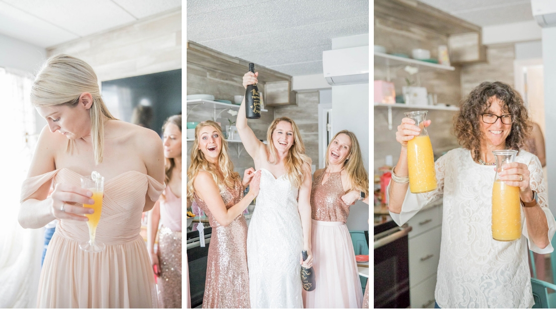 Revelry Try On Party Bride and two bridesmaids rose gold sequin dresses top and chiffon skirt chiffon bliush kennedy dress mother with carafs of orange juice cheers help party champagne mimosa