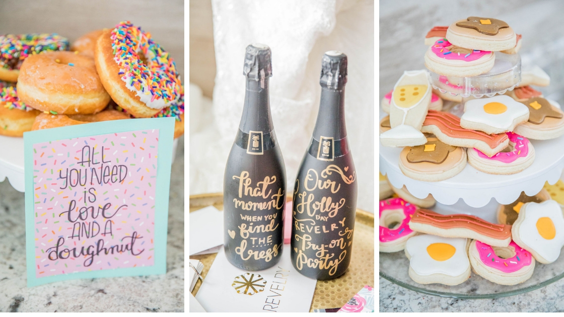 Revelry try on party dessert doughnut and cookie bar black champagne bottle gold lettering sign all you need is love