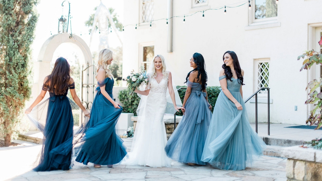 Revelry wedding dress bridal gown Mona dress bridesmaids in Rosalie dresses blue tulle dresses