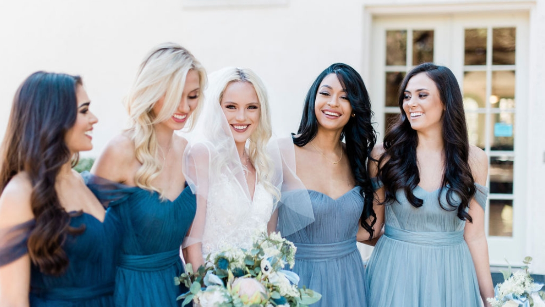 Revelry wedding dress bridal mona gown bridesmaids in rosalie dresses blue tulle