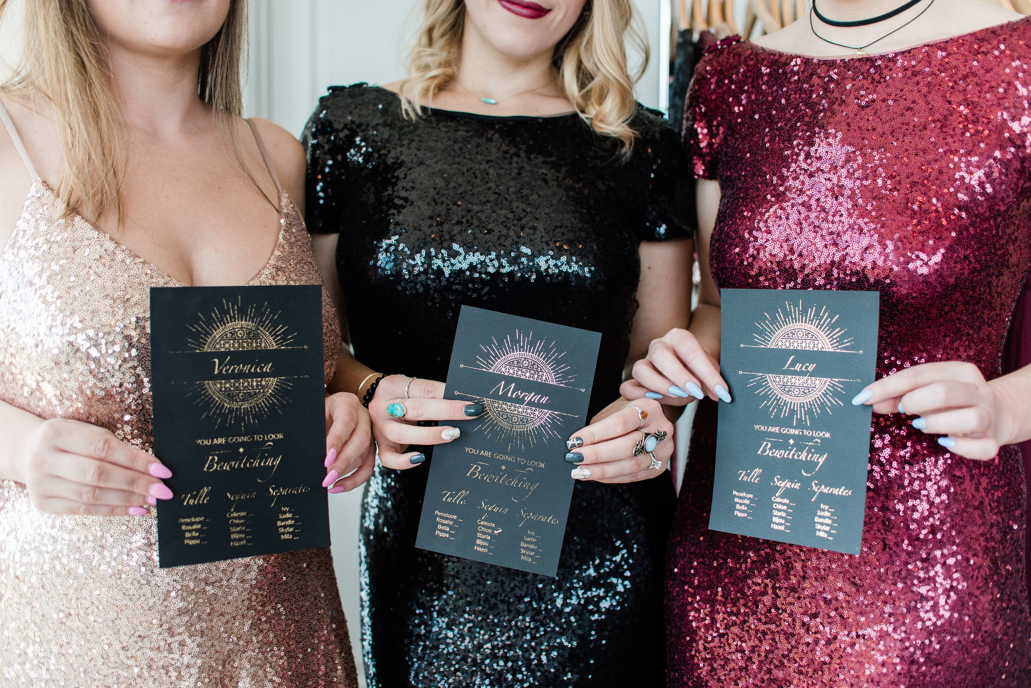 Rose Gold, Black, and Cabernet Sequins Chloe dresses for bridesmaids for Rachel Halloy's Coven Themed Try on Party.