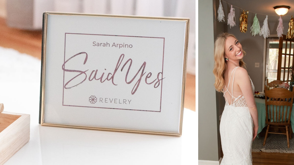 Sarah Arpino finally the bride sign revelry gold raden art deco bridal gown blonde hair smiling with decorations in the background