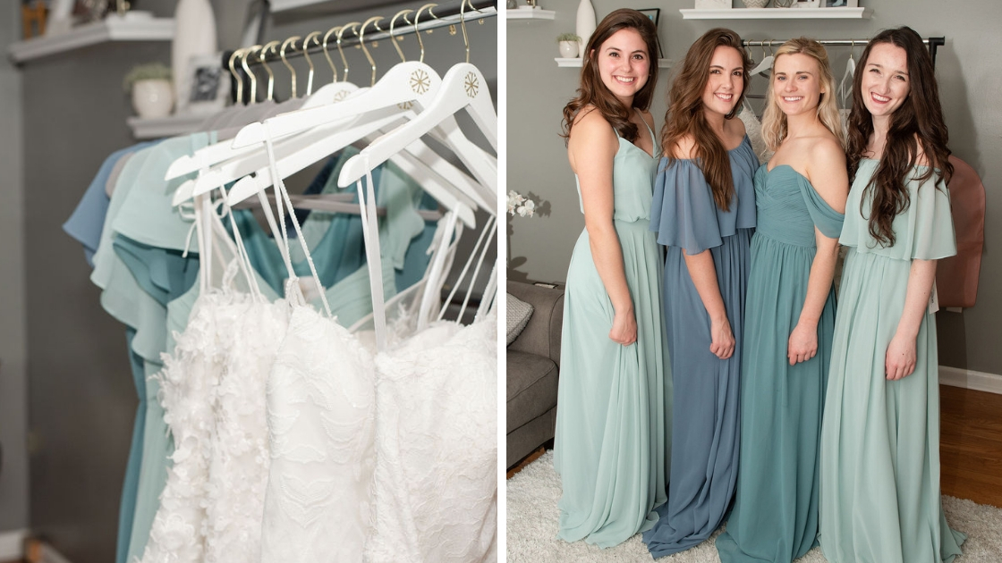 Sarah Arpino Finally the bride try on party white bridal gowns lace chiffon dresses four bridesmaids in blue and green chiffon styles