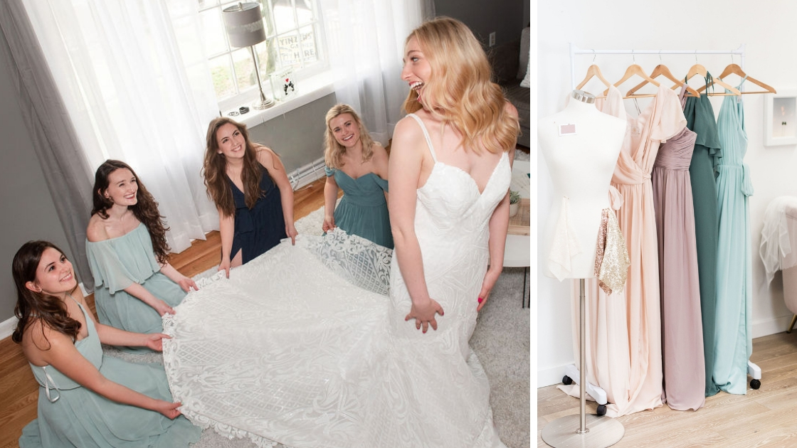 Sarah Arpino revelry bride in raden bridal gown bridesmaids in blue chiffon dresses off the shoulder navy green blue maniquin blushes pinks golds