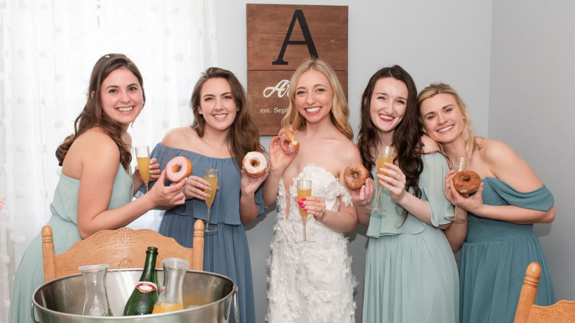 Sarah finally the bride arpino doughnuts mimosas orange suitce arpino last name wood sign off the shoulder chiffon bridesmaid dresses blue and green