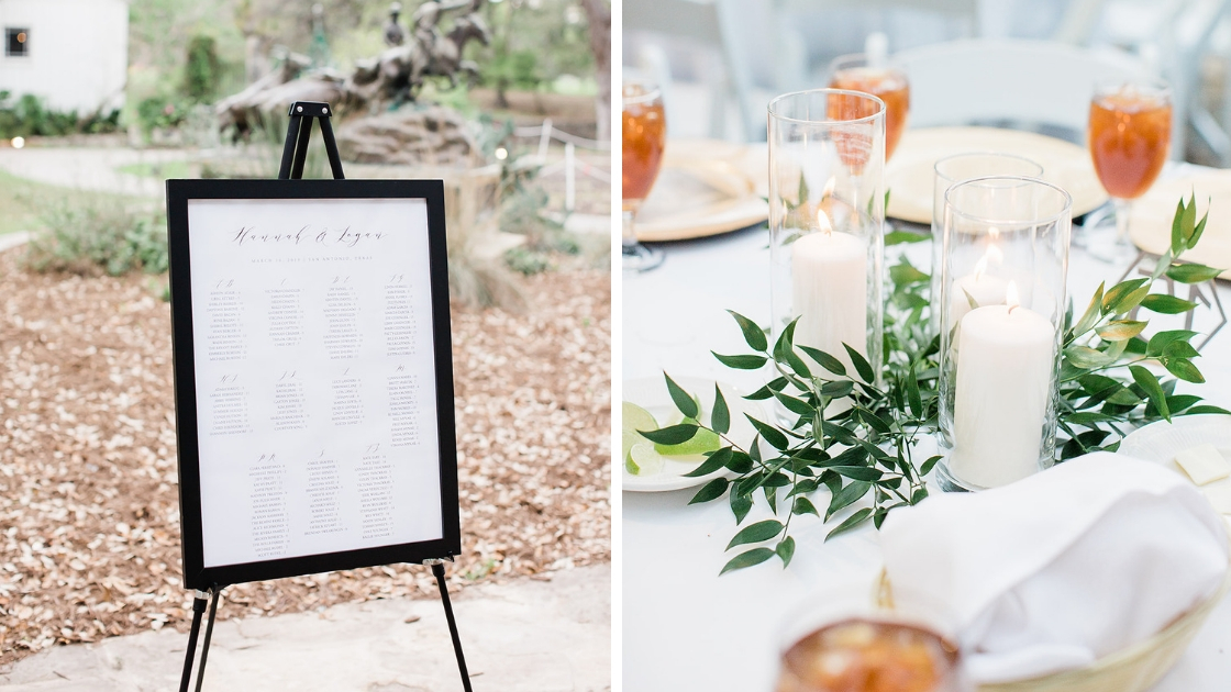 Seating chart black frame cursive outdoor wedding white table with greenery candles iced tea