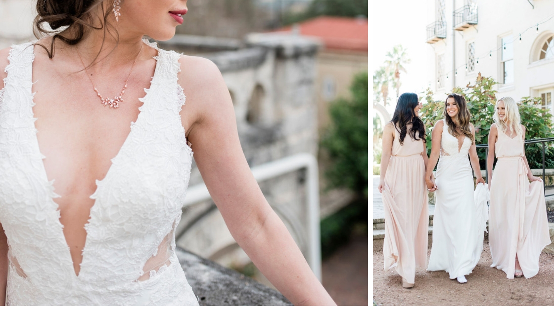 Sedona revelry bridal wedding dress deep v dress side illusion lace details holding hands with bridesmaids neutrals