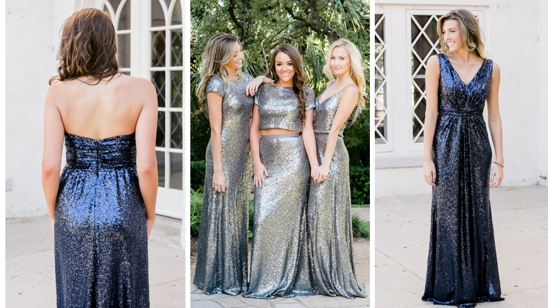 Sequin styles on three beautiful early twenties models navy blue and charcoal sequins gowns separates cowl back