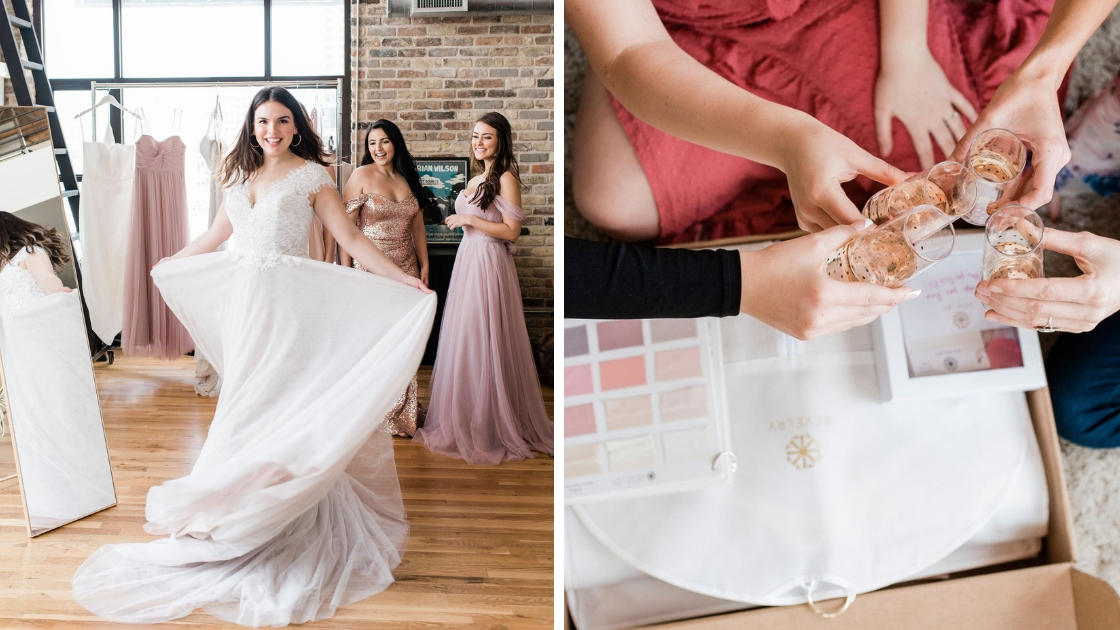 Set the vibe try-on party dancing twirling in wedding dress laughing and having fun cheersing with champagne rose celebrate the moments leading up to a wedding with revelry
