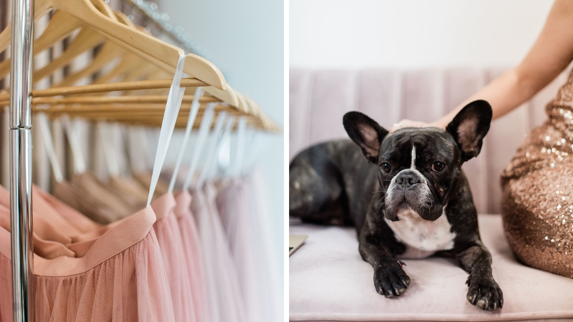 Different tulle skirts hanging up in pink colors stella lounging on couch next to michelle