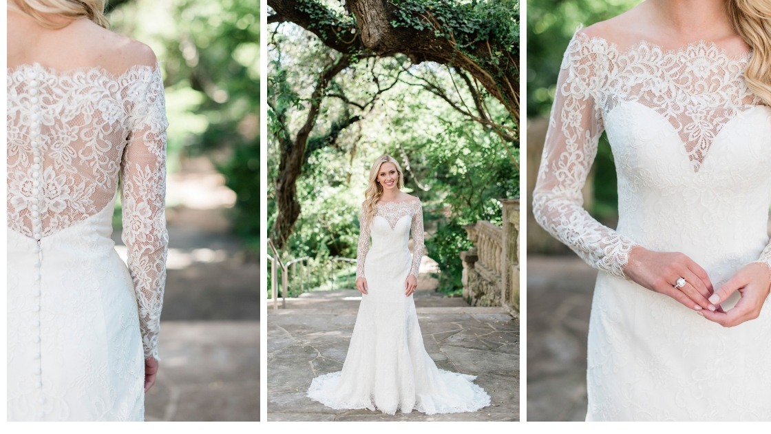 Southhampton lace wedding dress bridal revelry gown button back high neck lace sweetheart neckline
