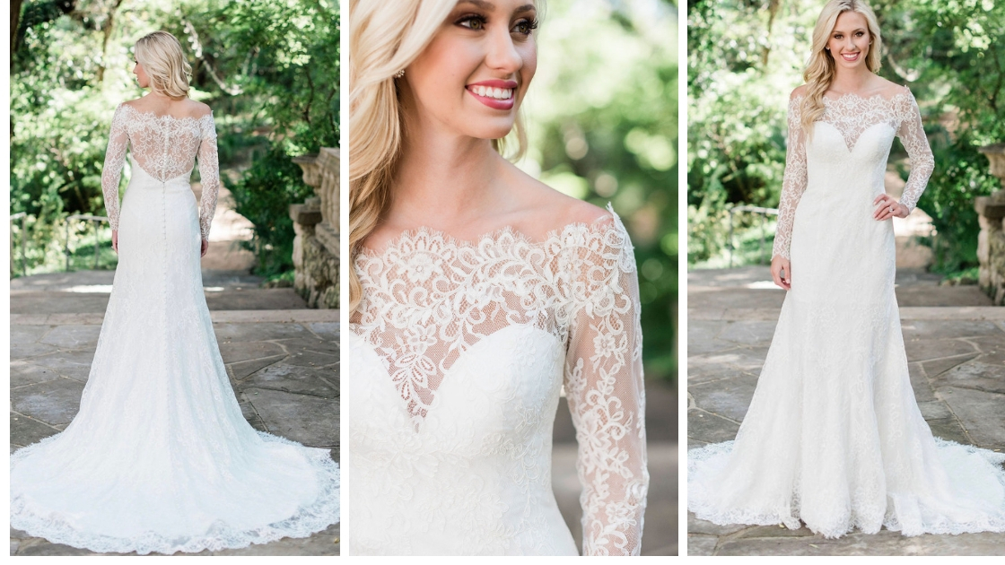Southhampton wedding dress revelry bridal blonde brige long sleeve lace dress form fitting mermaid