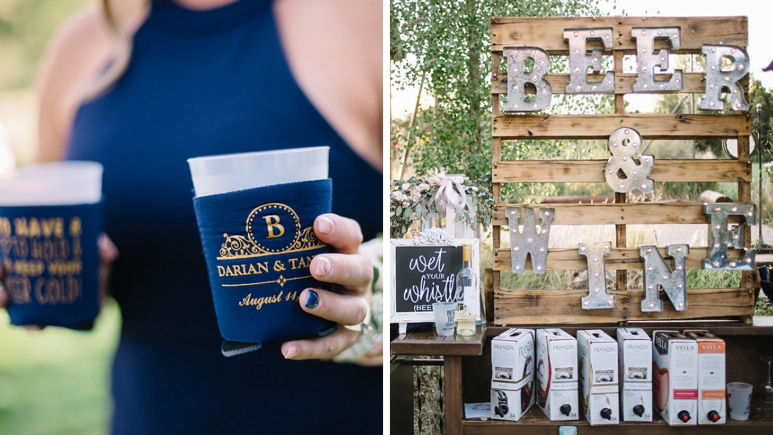 speciality drinks and diy bar at rustic weddings with blue coozies and boxed wine