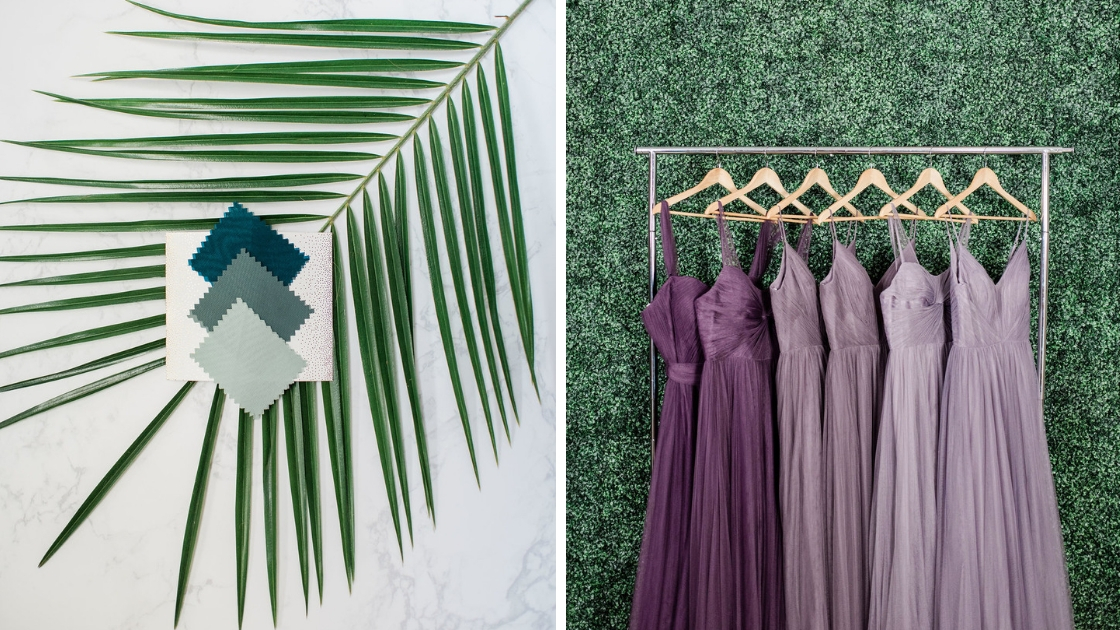 Spring wedding styles greenery green purple tulle dresses hanging up fern lavender