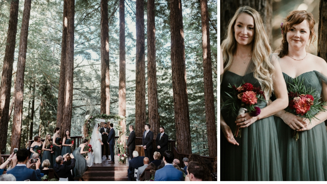 stunning redwoof wedding with forest trees and sunlight and bridesmaids in green tulle dresses Revelry