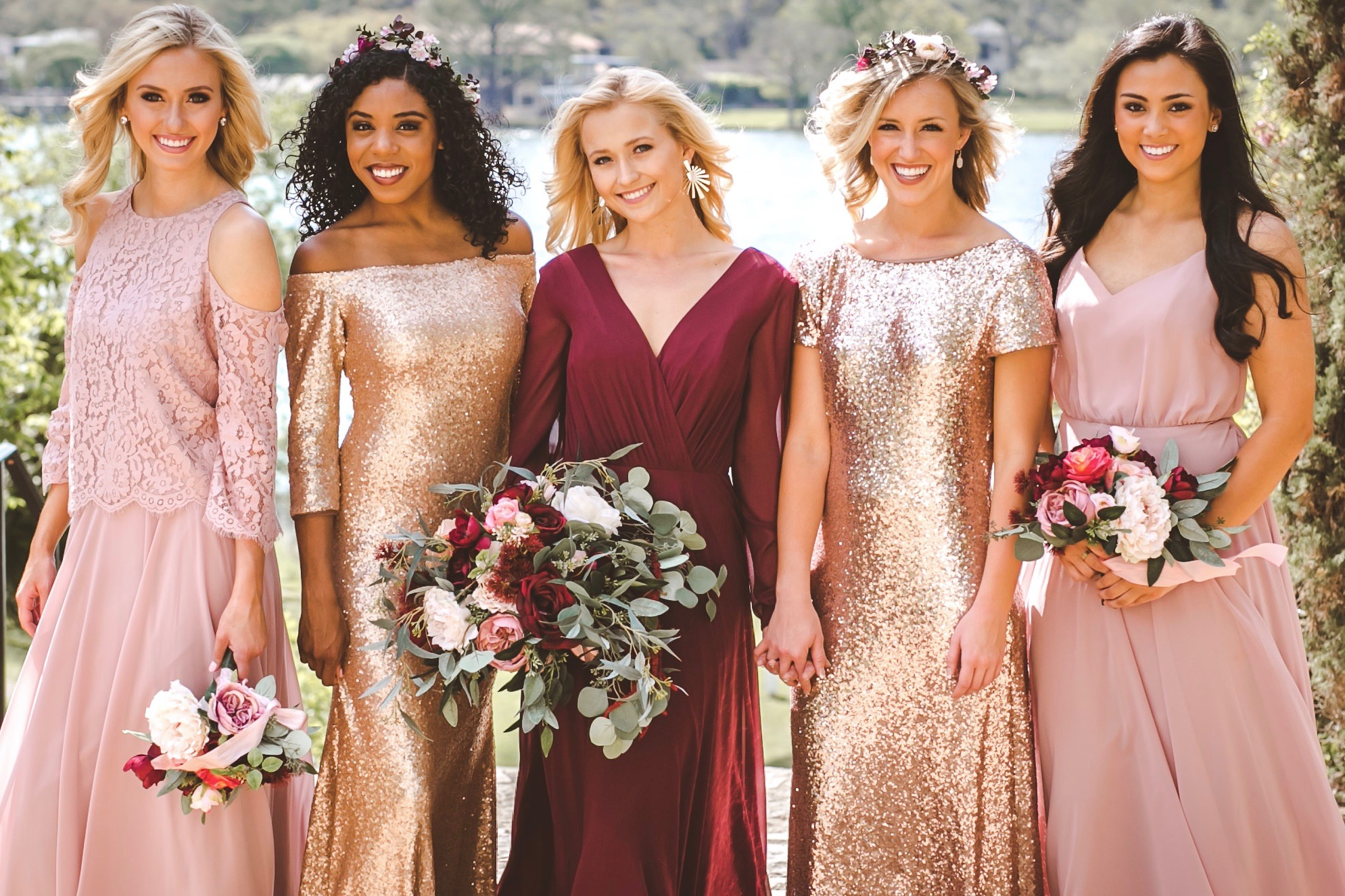 rose gold, matte rose gold, rose quartz chiffon, and marsala in chiffon, lace, and sequin styles.