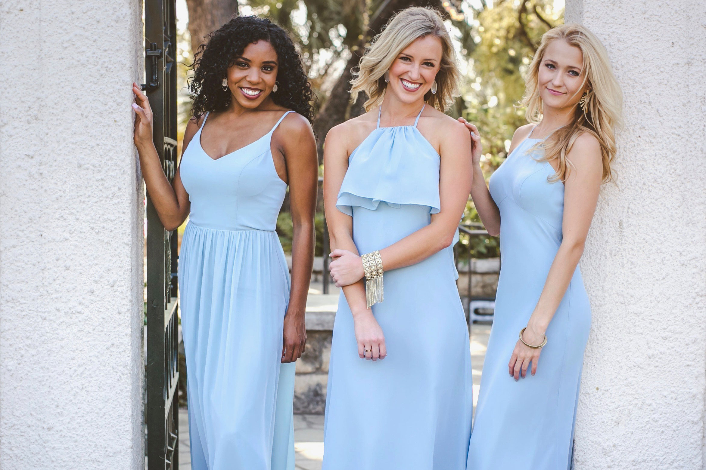stylish, sleek, and oh soo flattering! these bridesmaid dresses in powder sky chiffon are the summer styles your bridesmaids are dreaming of.