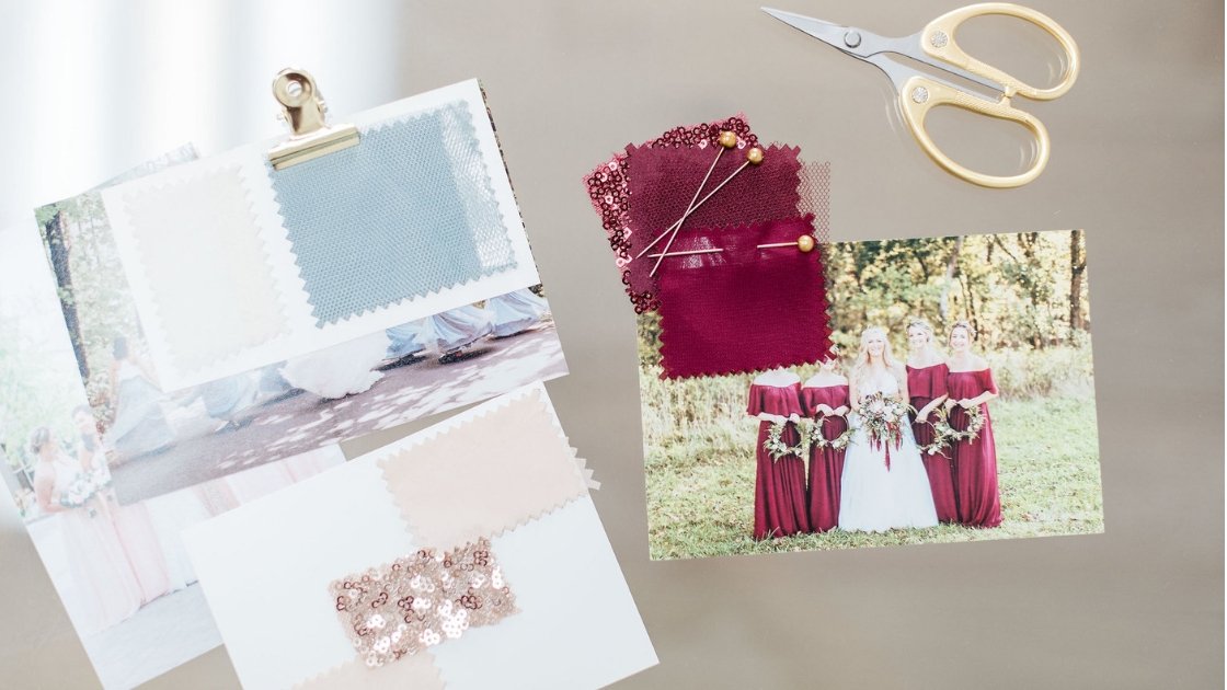 Swatches colors blue tulle chiffon cabernet burgundy tulle chiffon and sequin scissors